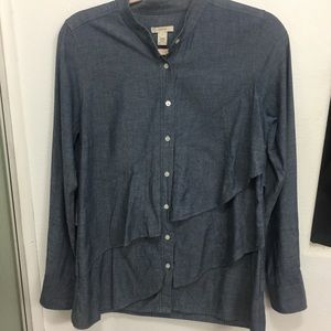 J. Crew Ruffled Chambray Button Down Shirt Size 4